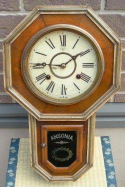 画像1: アンソニア(USA)・八角八日巻掛時計・明治時代