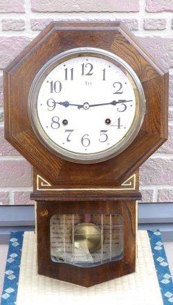 画像1: 高野時計製造所・明治期の八角八日まき・変わりケースで木目が綺麗