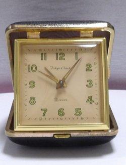 画像1: 東京時計・トラベラ【旅行用折りたたみ式】昭和40年代ベル付き手巻き