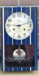 愛知時計・松阪木綿柄・昭和40年代一ヶ月巻き掛時計・リペイントケース、世界に一つ。